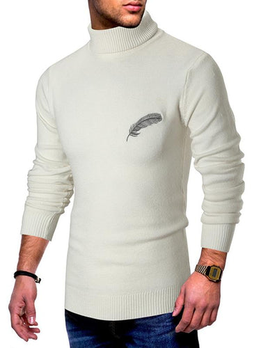 Men High Neck Knitted Sweater Tops Slim