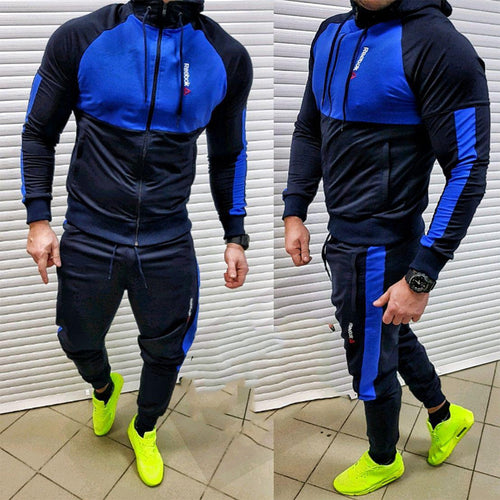 Fashion Hooded Contrast Color Men's Sports Two-Piece Suits