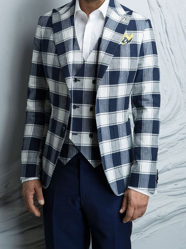 Men Lapel Plaid Blazer