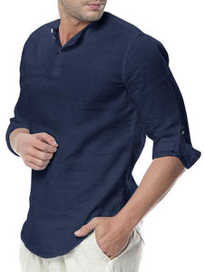 Men Cotton Long Sleeve Polo Top