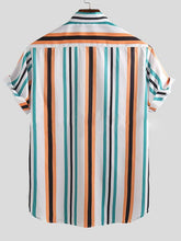 Load image into Gallery viewer, Men Blue Striped Printed Lapel Blouse&Shirt