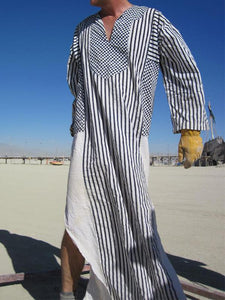 Men V Neck Striped Robe
