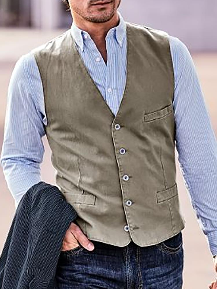 Men Solid Single Breasted Casual Waistcoat