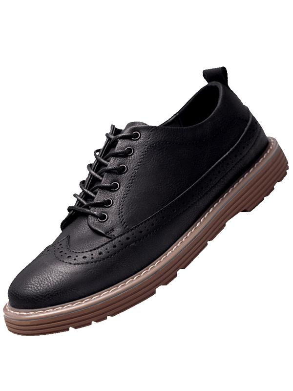 Men Casual Lace-up Leather Flat Shoes
