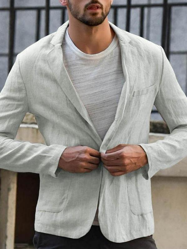 Men Casual Pure Color Blazer