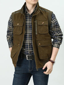 Men Military Style Pocket Vest