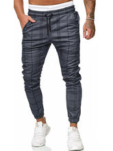 Load image into Gallery viewer, Men Drawstring Waist Grid Printing Pants
