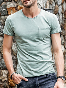 Men Round Neck Solid T-Shirt