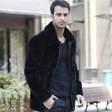Load image into Gallery viewer, Men Faux Fur Collar Winter Coat