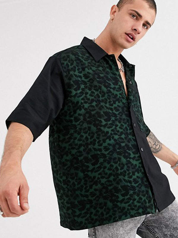 Men Street Style Lapel Print Shirt