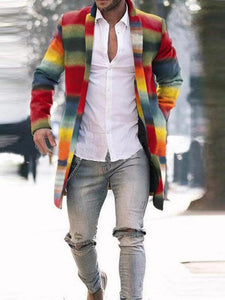 Men Multi Colored Casual Long Sleeves Coat