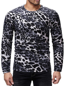 Men Basic Leopard Print Blouse