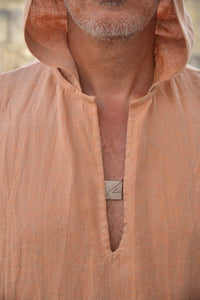 Men V Neck Hoodie Simple Robe