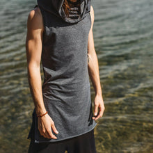 Load image into Gallery viewer, Men Long Sleeveless Hooded Vest Top
