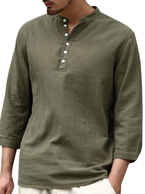 Men Half Sleeves Solid Casual Blouse