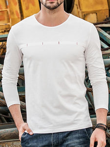 Men Casual Round Neck Blouse Shirt