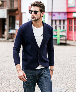 Men Revere Collar Cardigan