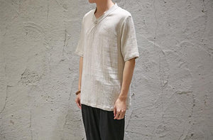 Men Solid Linen Shirt
