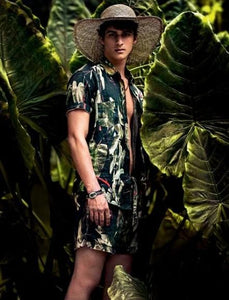 Men Plant Printed Short Sleeve And Short Bottom Casual Suit