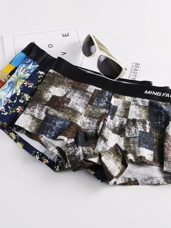 4PCS Men's Printed Underwear Briefs
