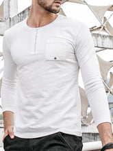 Load image into Gallery viewer, Men Basic Round Neck Blouse Shirt