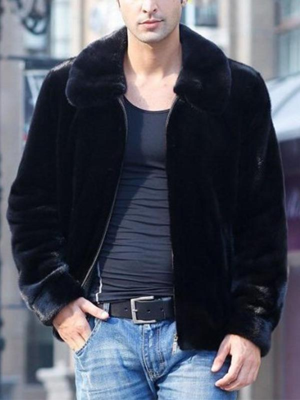 Men Faux Fur Collar Winter Coat
