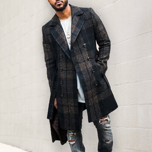 Men Stylish Slim Houndstooth Outerwear Coat