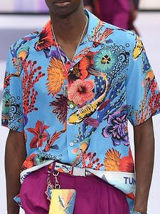 Men Lapel Tropical Printed Hippie Shirt