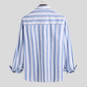 Men Long Sleeves Striped Blouse Shirt