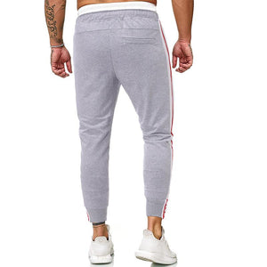 Men Casual Striped Tapered Pants Slim