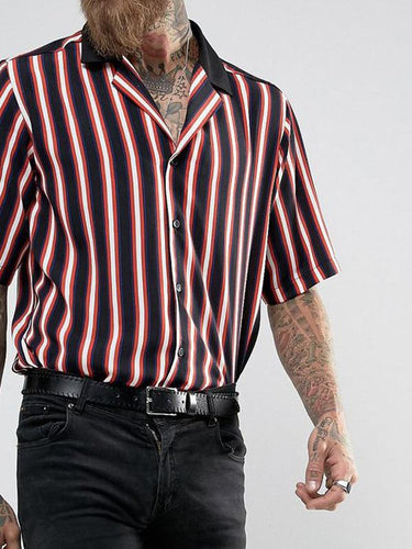 Men Fashion Striped Short Sleeves Shirt