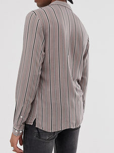 Men Striped Print Long Sleeve Shirt
