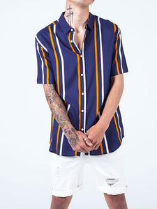 Men Striped Short Sleeves Blouse&Shirt Top