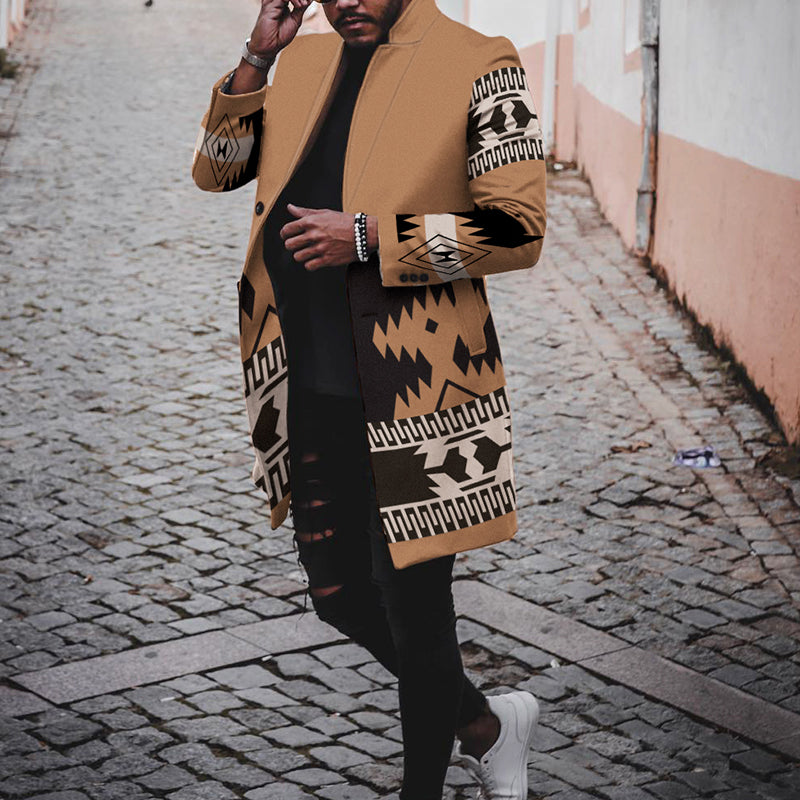 Men Casual Printed  Long Outerwear  Coat