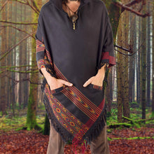 Load image into Gallery viewer, Men Hooded Poncho Boho Plus Shawl