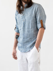 Men Casual Stand Collar Solid Shirt