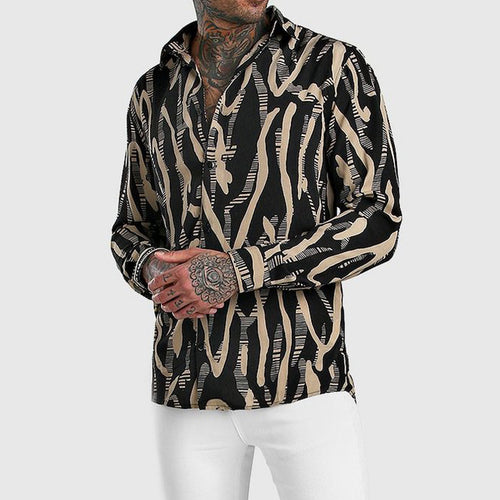 Men Hippie Style Print Long Sleeve Shirts