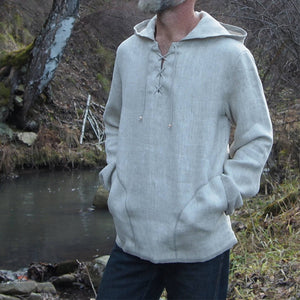 Men Button Collar Hooded Sweatshirt