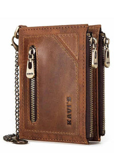 Leather Zipper Multi-layer Wallet