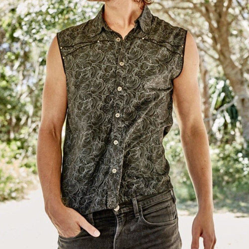 Men Holiday Style Printed Sleeveless Shirt