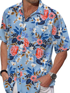 Men Holiday Short Sleeves Flower Print Shirt