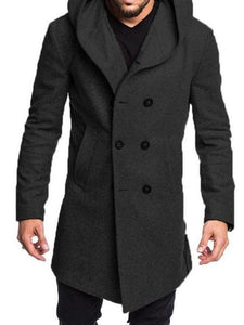 Men Double Breasted Hoodie Overcoat