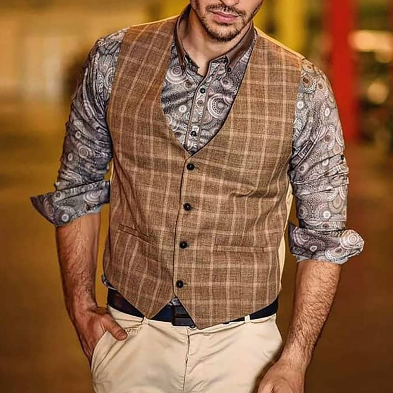 Men Traditional Plaid Herringbone Waistcoat