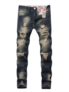 Men Casual Destroyed Ripped Denim Jeans