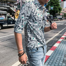 Load image into Gallery viewer, Men Printed Lapel Blouse Shirt