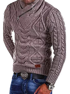 Men V Neck Braid Sweater Tops