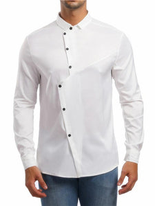Men Asymmetric Lapel Blouse Shirt