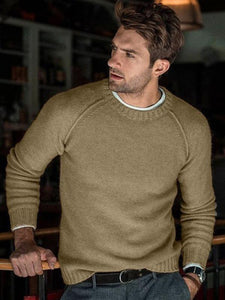 Men Round Neck Long Sleeve Sweater Tops