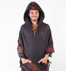 Men Hooded Poncho Boho Plus Shawl