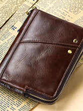 Load image into Gallery viewer, Solid Leather Zipper Men Wallet